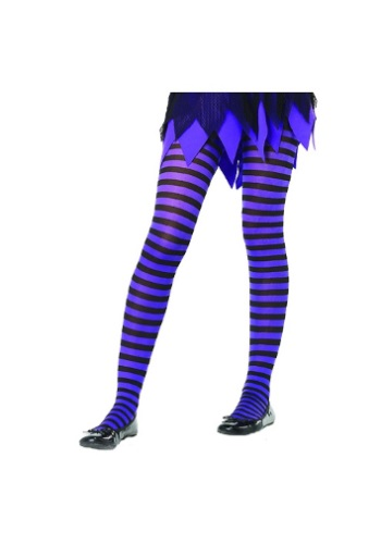 Kids Black and Purple Striped Tights