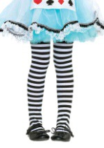 Kids Black and White Striped Tights