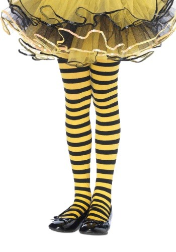 Click Here to buy Kids Black and Yellow Striped Tights from HalloweenCostumes, CDN Funds
