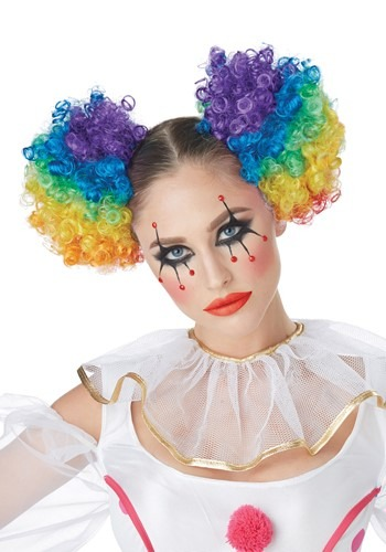 Rainbow Puffs Clown Wig