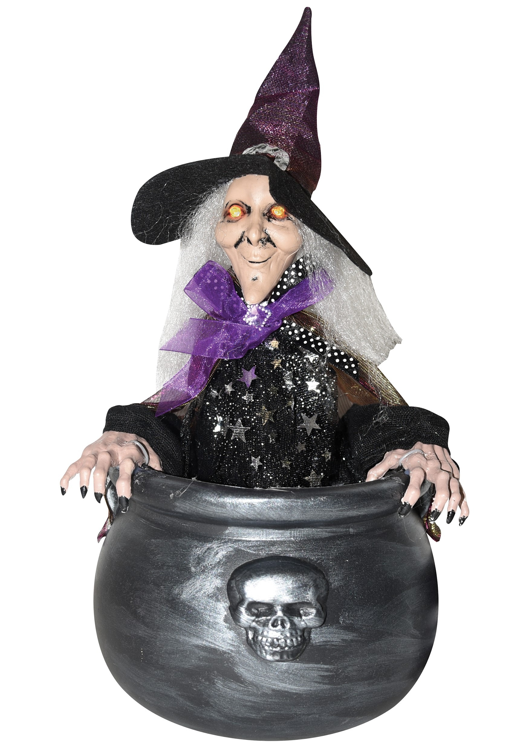 Animated Witch With Cauldron Decoration