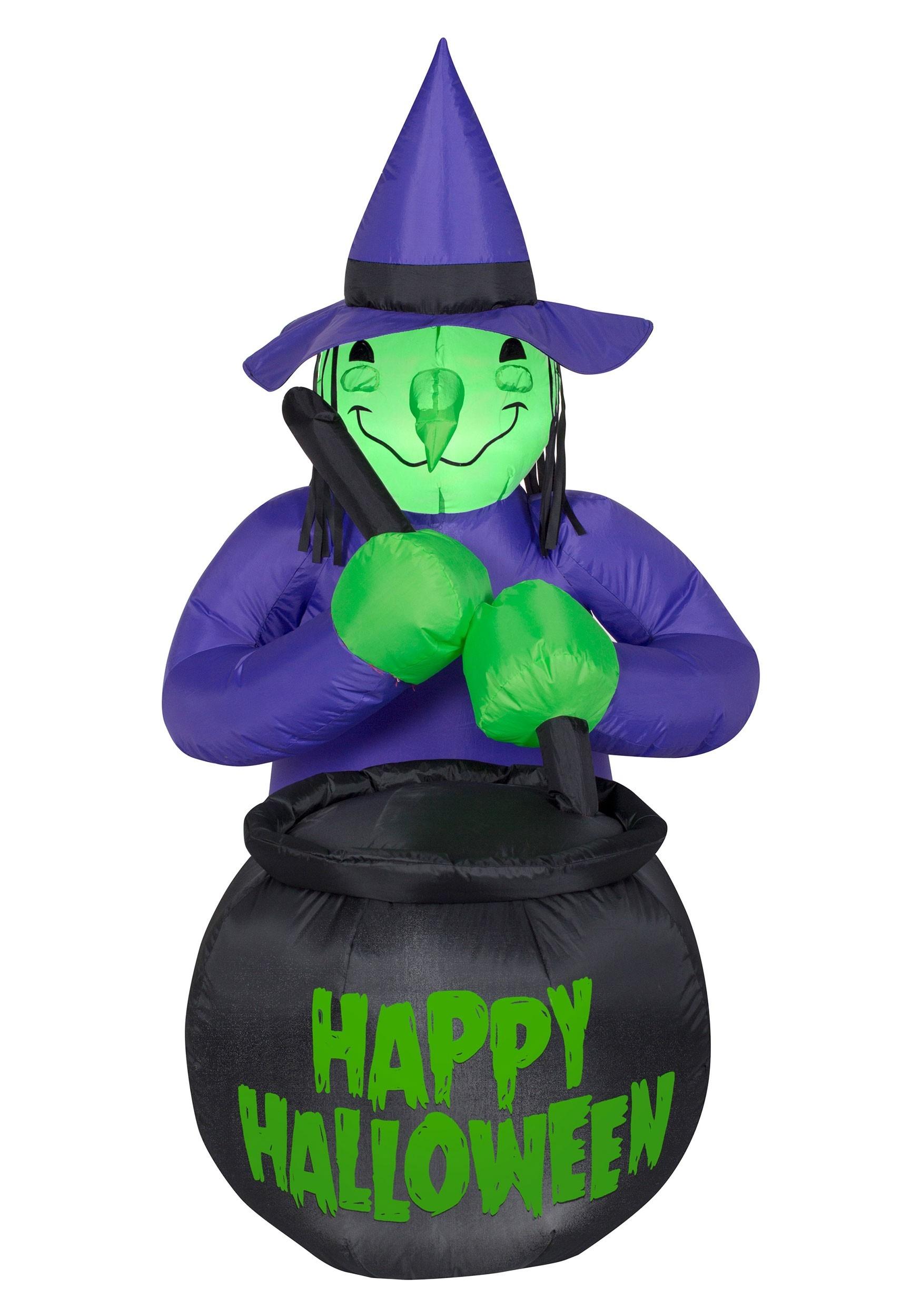 Inflatable Witch W Cauldron Decoration Halloween Cauldron