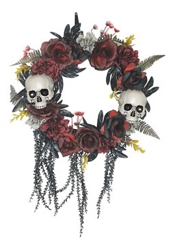 Wreath w/ Skulls & Roses Decoration