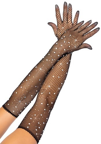 Black Rhinestone Fishnet Opera Gloves
