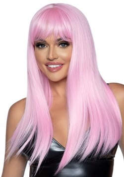 "24"" Long Straight Pink Wig"