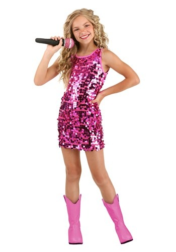 Girls Pink Pop Singer Costume