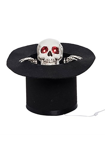 Light Up Animated Skull with Top Hat Décor
