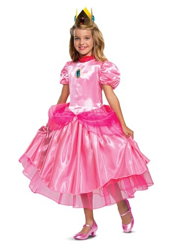Girls Super Mario Deluxe Princess Peach Costume