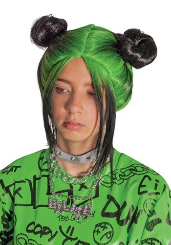 Billie Eilish Child's Green Double Bun Wig