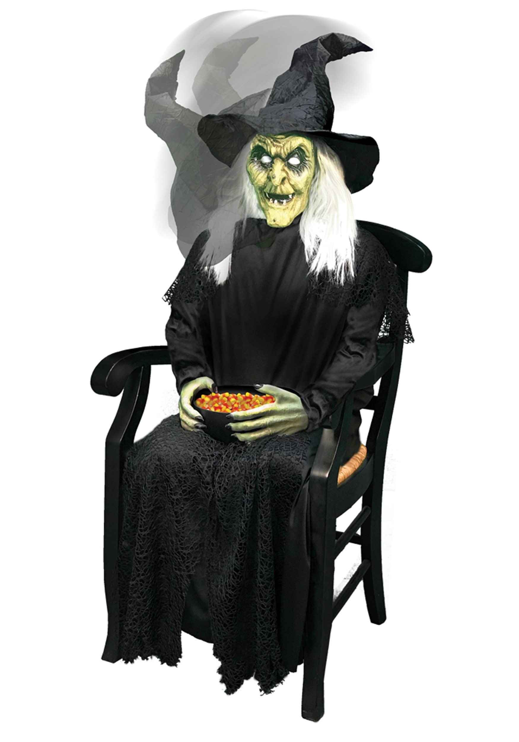 Sitting Animated Witch Candy Bowl