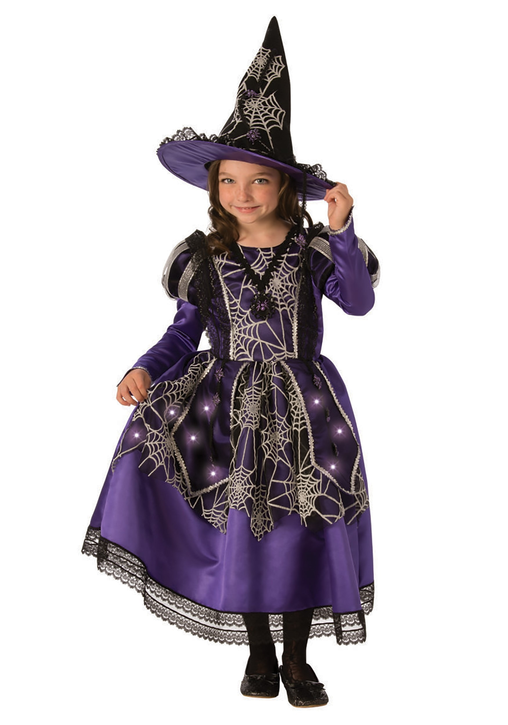 Girl S Victorian Light Up Spider Witch Costume