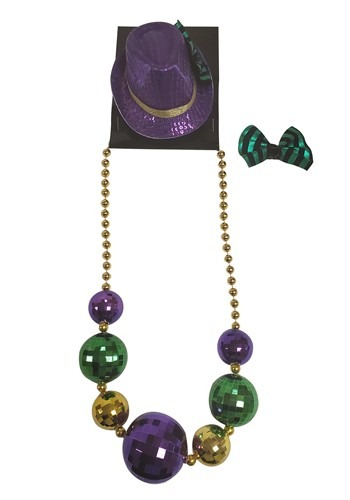 Mardi Gras Necklace and Mini Fedora