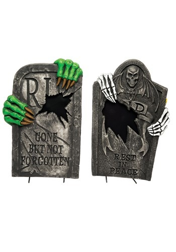 """22"""" Light Up Skeleton Claw Tombstone"""