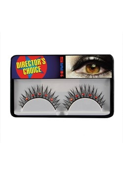 Deluxe Self Adhesive Eyelashes w Black Red Rhinestones