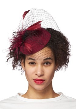Deep Burgundy Veiled Fascinator