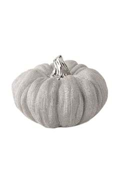 "5"" Metallic Silver Textured Ceramic Pumpkins Update"