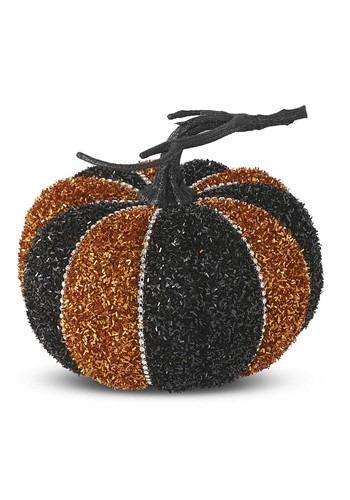 "Black & Orange Tinsel Pumpkin 6"""