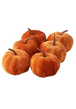 6 2in Orange Velvet Pumpkins Set