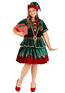 Women's Plus Deluxe Holiday Elf Costume Main