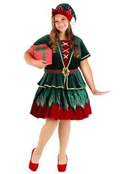 Women's Plus Deluxe Holiday Elf Costume Main