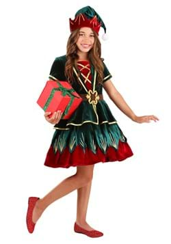 Girl's Deluxe Holiday Elf Costume Main