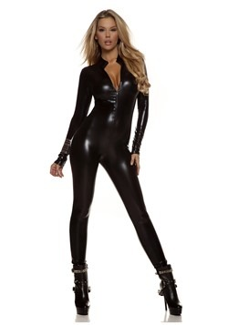 Women's Metallic Black Mock Neck Jumpsuit