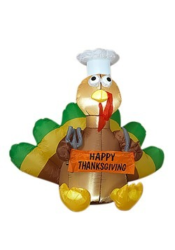 "48"" Electric Inflatable Turkey w/ Sign"