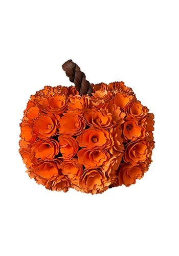 "7.5""H Wood Rose Harvest Pumpkin"
