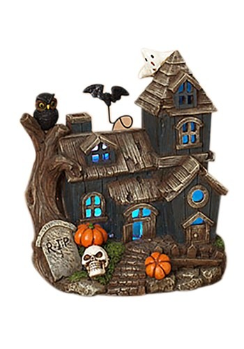 """8.3""""H Lighted Resin Haunted House"""