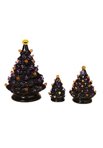 3 Lighted Dolomite Halloween Trees w/Sound Large is 13.1""