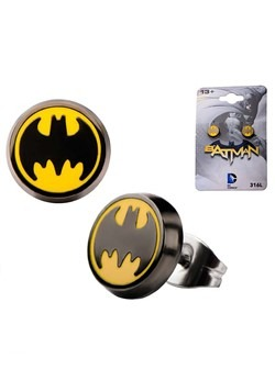 DC Comics Batman Logo Enamel Stud Earrings