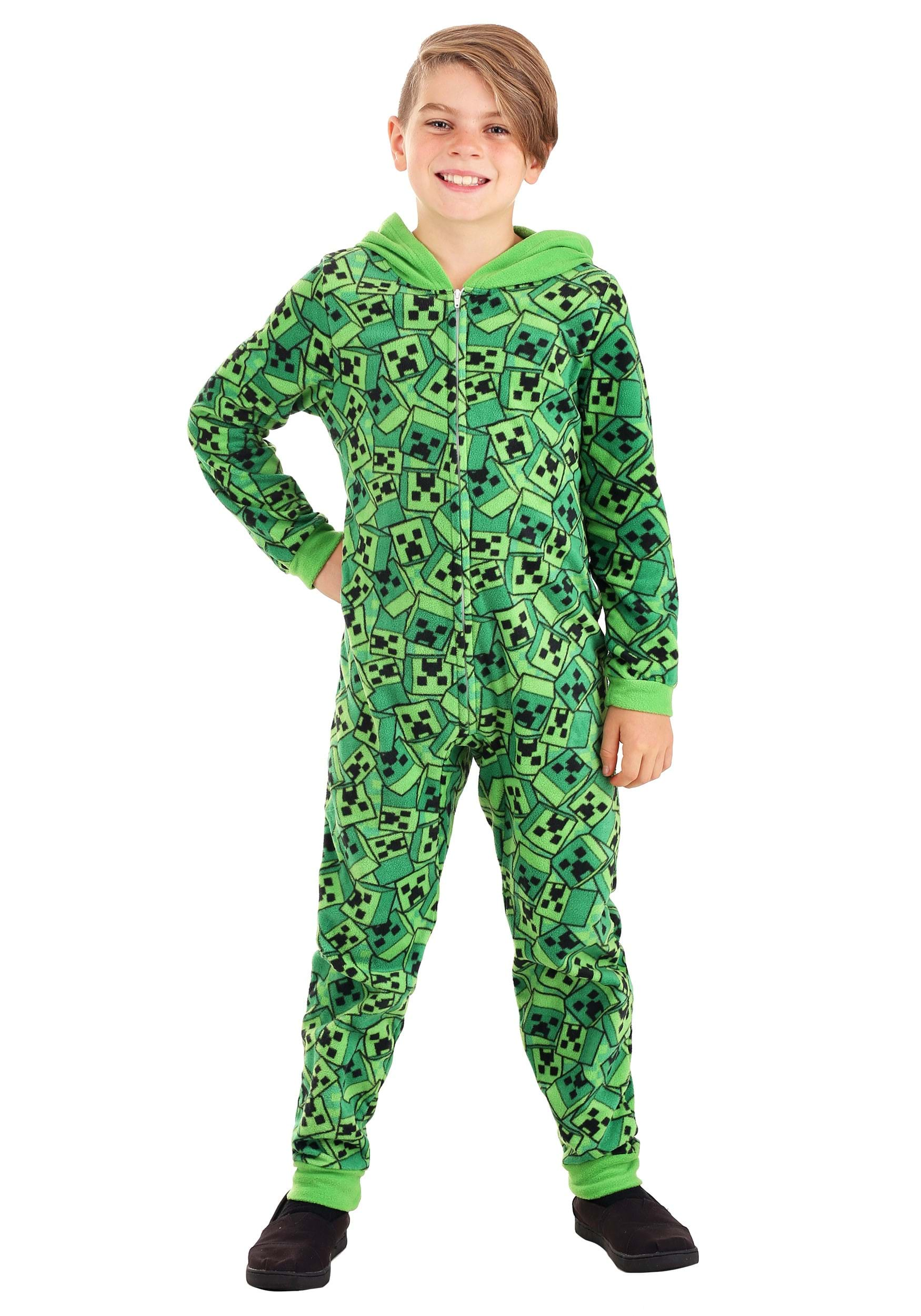 Minecraft Boys Hooded Union Suit