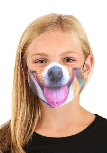 Child Dog with Tongue Sublimated Face Mask
