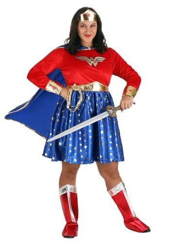 Wonder Woman Plus Size Long-Sleeved Costume Dress