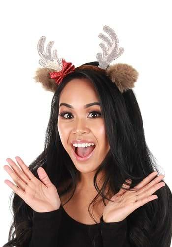 Reindeer Glitter Bow Headband