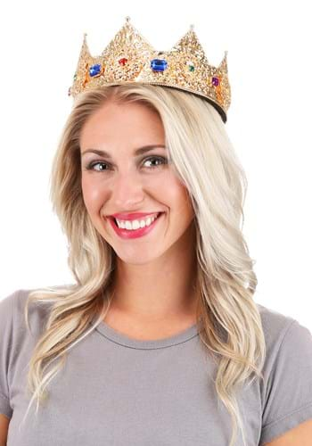 """Gold Ladies Pointed Crown Adjustable 3"""" Upd"""