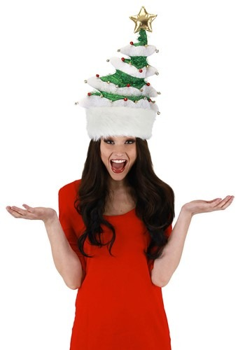 Springy White Christmas Tree Plush Hat