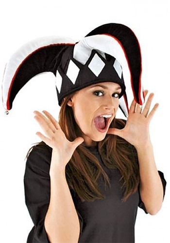 Black & White Court Jester Plush Hat