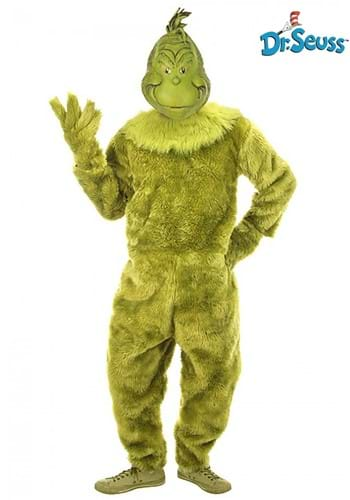 The Grinch Deluxe Jumpsuit with Latex Mask Mens S/