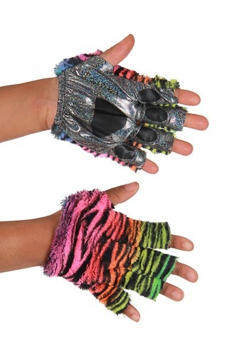 Neon Rainbow Tiger Fingerless Paws