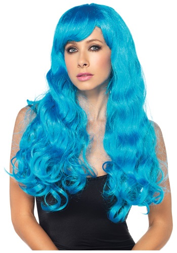 Neon Blue Long Wig By: Leg Avenue for the 2015 Costume season.