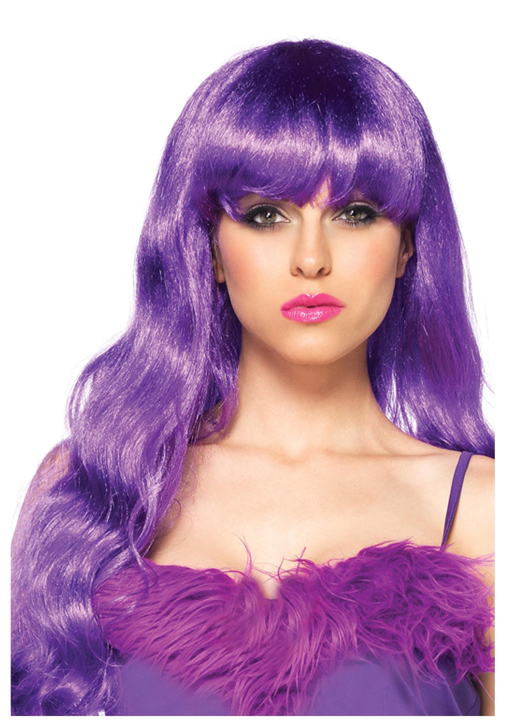 long wavy purple wig