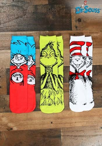 Adult Dr. Seuss Characters Crew Sock Set  3 Pairs