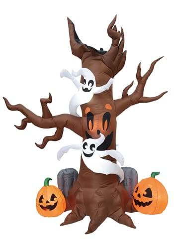 8 Inflatable Scary Tree w Graves Decoration