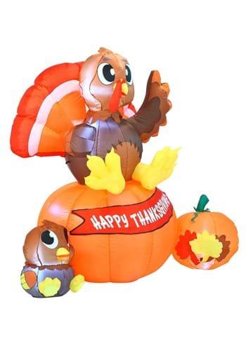 Inflatable 6 Ft Thanksgiving Turkey on Pumpkin Decoration