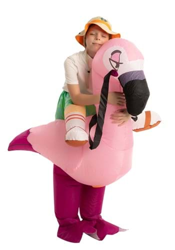 Inflatable Kids Flamingo Ride On Costume