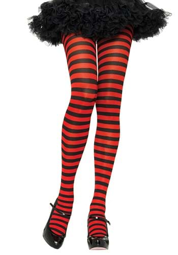 Womens Black and Red Striped Nylon Tights