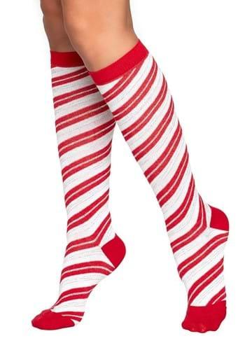 Womens Candy Cane Knee High Socks