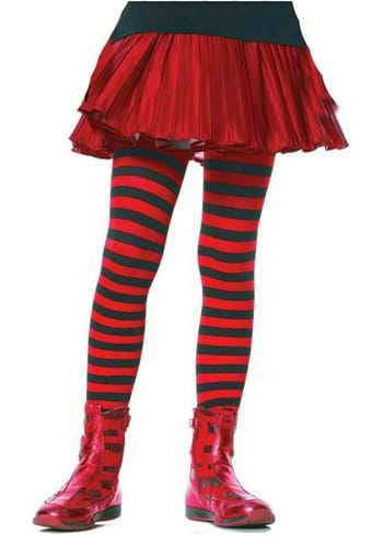 Kids Black and Red Striped Tights upd