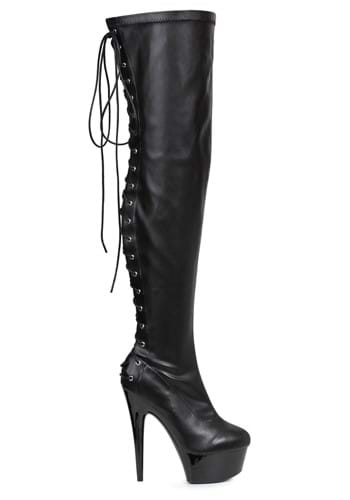 Womens Black Lace Thigh High Boots